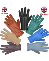 Etsy Leather Gloves Soft Feel Fully Lined Fleece Winter Warm Outdoor Walking New - Multicolour