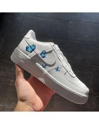 Etsy Small Blue Butterflies Nike Air Force 1 - Blanc