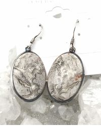 Etsy Crazy Lace Agate Earrings - Metallic