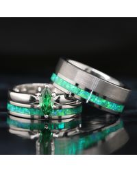 Etsy His & Her 3 Piece Opal Wedding Ring Set Green Rings