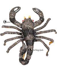 Etsy Diamond Scorpine Brooch Pendant - Metallic