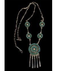 Etsy Yatsattie Signed Zuni Sterling Silver Turquoise Petit Point Y Necklace - Multicolor