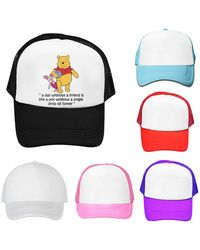 Etsy Winnie The Pooh & Piglet Friends Theme Fitted Mesh Hat Baseball Caps - White