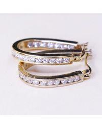 """Etsy 1"""", Vintage Vermeil Gold Sterling Silver Earrings, 925 Hoops, Huggie, With Cz Details, Stamped - Metallic"""