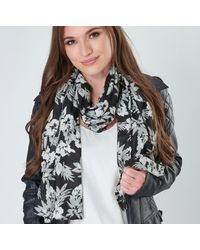 Etsy Organic Cotton Scarf With Bold Hibiscus Flower Print In Black White & Grey