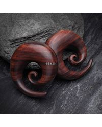Etsy A Pair Of Rosewood Spiral Hanger Plug - Multicolor