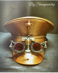 Etsy Steampunk Brown Leather Look Military Hat With Red Lens Goggles In 57 & 58cm