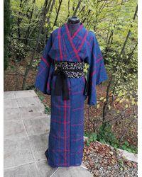 Etsy Yukata Vintage Bleu Marine À Rayures Rouge Avec Ceinture Obi