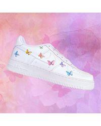 Etsy Small Butterflies Nike Air Force 1 Custom Design - Blanc