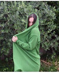 Etsy Hooded Green Waterfall Knit Cardigan