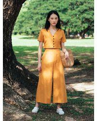 Etsy Pantalon En Lin Coton Jaune Moutarde Avec Jambe Large - Vert