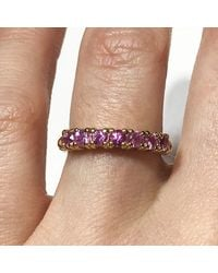 Etsy 0.77 Ctw Natural Pink Sapphire 7 Stone Band/solid 14k 18k Gold Round Cut Wedding Ring Anniversary Gift September Birthstone