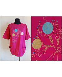 Etsy Vintage Pink Embellished Top Long 'S Tee Cotton Jersey Summer 90S T Shirt Front Pockets Brodés Perle - Bleu