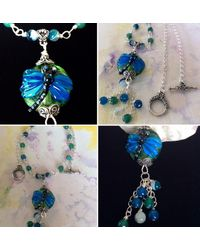 Etsy Vibrant Dragonfly Pendant With Gemstone Necklace & Dangles - Metallic