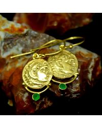 Etsy - Handmade Ancient Design Bronze Coin Earring With Emerald 24k Gold Over 925k Sterling Solid Silver Roman Designer Jewelry - Lyst