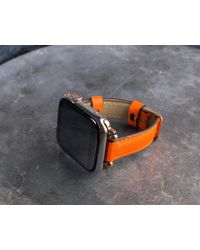Etsy Neon Orange Slim Leather Apple Watch Band For