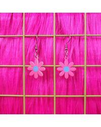 Etsy Daisy Stainless Steel Hook Earrings Cute Adorable Y2k Aesthetic Harajuk Kawaii Pastel Goth Tumblr Gift Idea - Pink