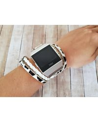 Etsy Stylish Leopard Print Boho Hippie Fitbit Ionic Watch Band Multi Wrap Vegan Leather Silver Gold Chain Bracelet For - Metallic