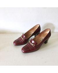 Etsy Celine Vintage Bordeaux Cuir Et Or Mocassins Chaussures - Rouge