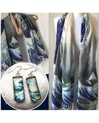 Etsy Hokusai Great Wave Print Scarf/925 Silver Hook Earrings - Metallic