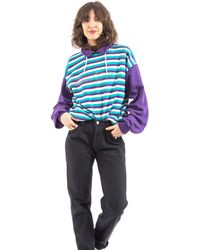 Etsy Original Marc O Polo 90S Vintage Baseball Sweater/Purple & Turqiouse Striped Pattern Funky Label Imprint Sustainable Sec... - Violet