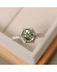 Etsy Green Amethyst Engagement Ring