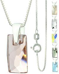 Etsy 925 Sterling Silver Faceted Pendular Lochrose Swarovski Crystal Pendant Necklace - Metallic