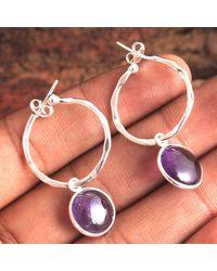 Etsy Natural Amethyst Round Gemstone Pretty Earring - Metallic