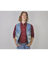 Etsy Vintage Rafaella 1990's Medium Checked Denim 100% Cotton Waistcoat Botton Up Vest Bodywarmer Tank M Casual Blue Jeans Su... - Bleu