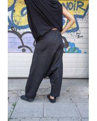 Etsy Pantalon Loose Linen Black Harem - Noir