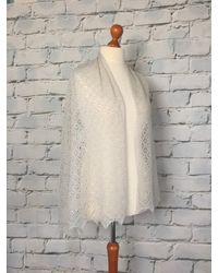 Etsy Stunning 100% Pure Cashmere Lace Shawl/scaf Col Light Grey