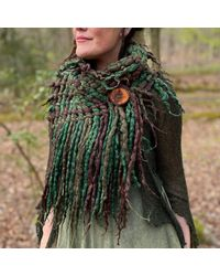 Etsy The 'anuket' Woven Scarf Of Twinkling Fibres - Green