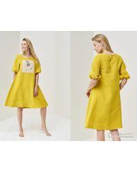 Etsy Robe En Lin Imprimée - Jaune