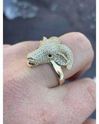 Etsy - Custom Made Goat Ring 14k Yellow Gold Over Solid 925 Sterling Silver Iced Out Cz Diamond Greatest Of All Time Pinky - Lyst
