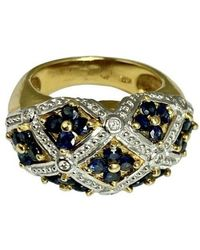 Etsy 18k Yellow Gold Diamond Blue Sapphire Woven Dome Ring Forget-me-not Flower 6