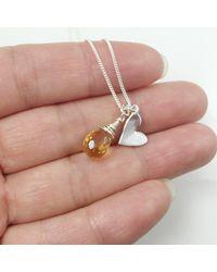 Etsy November Birthstone Necklace-citrine Necklace-sterling Silver Gemstone Necklace - Metallic