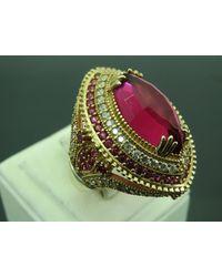 Etsy Turkish Handmade Jewelry 925 Sterling Silver Ruby Stone Ladies' Ring Sz 7 - Metallic