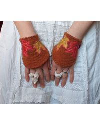 Etsy Autumn Leaf Orange Wool Wrist Cuffs Handmade Ooak Whimsical Faerie Upcycled