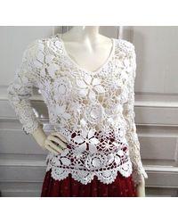 Etsy 90S Coton Dentelle Pull Ressort Jumper Blanc Crochet Boho Haut Simple De Base D'Été En Plage Royaume-Uni