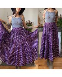 Etsy Jupe Adini Bohème Vintage 70S En Gaze De Coton Indien Violette //