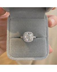 Etsy - Cushion Cut Moissanite Engagement Ring Crushed Ice 14k White Gold Palladium Platinum Handmade Halo Diamond Classic Anniversary - Lyst