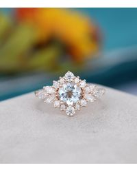 Etsy Aquamarine Engagement Ring Rose Gold Unique Flower Vintage Marquise Cut Wedding Antique Bridal Anniversary Gift For - Metallic