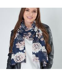 Etsy Seconds Sale Organic Cotton Scarf Navy Blue Salmon Pink & White Floral