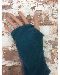 Etsy Hedkase Fleece Hand-warmers In Teal Keypad Mitts Fingerless Gloves Handmade U - Blue