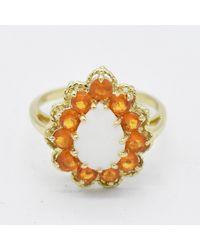 Etsy 14k Yellow Gold Estate Teardrop Opal & Orange Gemstone Ring Size 7