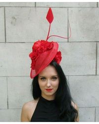 Etsy Large Red Sinamay Rose Flower Feather Hat Fascinator Headband Floral Races 7331