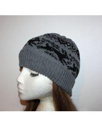 Etsy Black Hares Or Rabbits & Fairisle On A Grey Beanie Hat