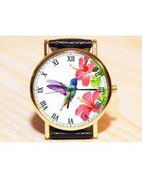 Etsy Humming-bird Wrist Watch - Red