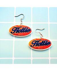 Etsy Socially Hazardous Hottie Sticker Earrings Or Necklace 90's Y2k Nostalgia Aesthetic Harajuku Kawaii Pastel Goth Gift Idea - Blue