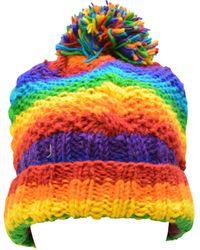 Etsy Handmade Knit 100% Wool Crochet Beanie Pompom Hat Warm Winter Fleece Lined Skull Cap Rainbow - Multicolour
